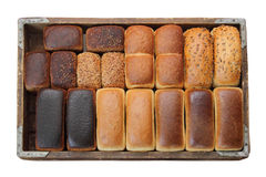 Läckra typer av bröd i en träask Fotografering för Bildbyråer