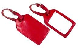 läder över set etikettswhite för red Royaltyfria Foton