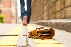 läder förlorad handväskaplånbok Royaltyfri Foto