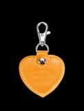 Läder runda Keychain med det isolerade gemlåset för tangent Royaltyfri Bild