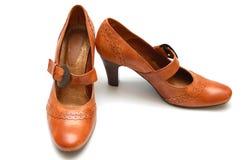 läder shoes kvinnan royaltyfri fotografi