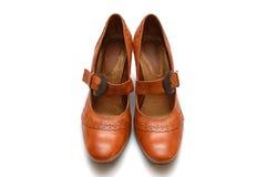läder shoes kvinnan royaltyfri bild