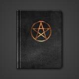 Läderbok med Pentagram stock illustrationer