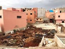 Läderfabrik Marrakesh royaltyfri foto