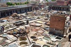 Lädergarveri i Marrakech Fotografering för Bildbyråer