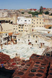 Lädergarverier i Fez, Marocko Royaltyfria Foton