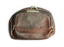 Läderhandväska för gammal damtoalett arkivbild