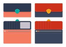Läderhandväska för kvinnor s i öppen och stängd form med fack för dokument och kreditkortar, med att kontrastera linjer längs con stock illustrationer