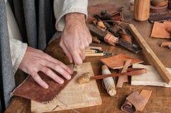 Läderhantverkare Arkivbilder
