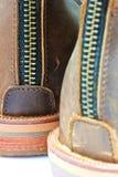 Läderkänga med blixtlåset Royaltyfria Bilder