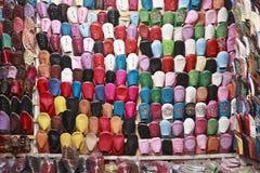 lädermoroccanskor Royaltyfri Bild