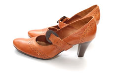 läderparet shoes kvinnan arkivfoton