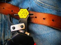 Läderstansmaskin fotografering för bildbyråer