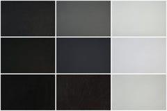 Lädertexturuppsättning, tre olika texturer i svart, grå färger och vit Fotografering för Bildbyråer