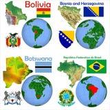 Läge Bolivia, Bosnien och Hercegovina, Bostswana, Brasilien Arkivfoto