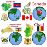 Läge Cambodja, Kanada, central afrikan, Tchad Royaltyfria Foton