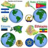 Läge El Salvador, Eritrea, Estland, Etiopien Royaltyfria Bilder