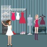 Läge för shoppinggalleria för kvinna för mode för boutique för klädlager Arkivfoton