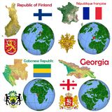 Läge Finland, Frankrike, Gabon, Georgia Royaltyfri Foto
