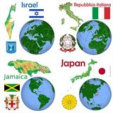 Läge Israel, Italien, Jamaica, Japan Royaltyfri Foto