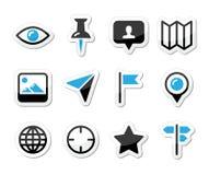 Läge kartlägger den resande symbolsuppsättningen -   Fotografering för Bildbyråer
