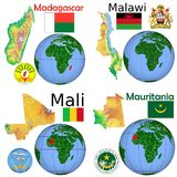 Läge Madagascar, Malawi, Mali, Mauretanien Arkivbilder