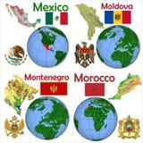 Läge Mexico, Moldavien, Montenegro, Marocko Royaltyfri Foto