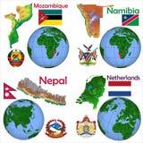 Läge Mocambique, Namibia, Nepal, Nederländerna Arkivfoto