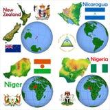 Läge Nya Zeeland, Nicaragua, Niger, Nigeria Fotografering för Bildbyråer