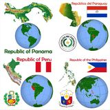 Läge Panama, Paraguay, Peru, Filippinerna Royaltyfria Foton
