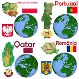 Läge Polen, Portugal, Qatar, Rumänien Arkivbild