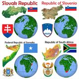 Läge Slovakien, Slovenien, Somalia, Sydafrika Royaltyfri Foto