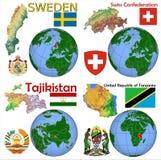 Läge Sverige, Schweiz, Tadzjikistan, Tanzania Arkivbild