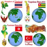 Läge Thailand, Togo, Tunisien, Turkiet Arkivfoton