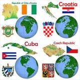 LägeElfenbenskusten, Kroatien, Kuba, Tjeckien Royaltyfria Foton