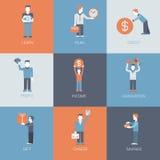 Lägen för folk för vinst för inkomst för affärsfinanskarriär sänker stock illustrationer