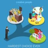 Lägenhet 3d för familj för hårt val för affärsman isometrisk rik royaltyfri illustrationer