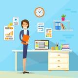 Lägenhet för arbetsplats för kontor för skrivbord för affärskvinna vektor illustrationer