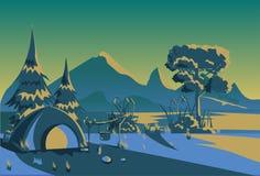 Lägenhet för bakgrund för landskap för turist- för skog för tältnatt horisontalcampa expedition för berg utomhus- royaltyfri illustrationer