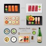 Lägenhet för Infographic lekmanna- idé för japansk foodsaffär Arkivfoton