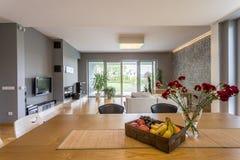Lägenhet för plan för öppet golv Royaltyfri Fotografi