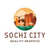 Lägenhet för stil för gata för ljus för stadion för yacht för sol för hav för illustration för Sochi ljus solig stadsvektor stock illustrationer