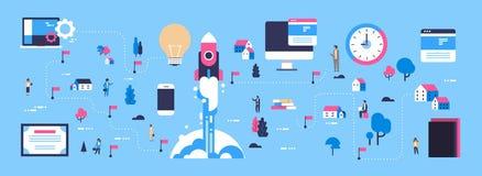 Lägenhet för tecken för tecknad film för businessperson för idé för startup för begrepp för raketlansering isometrisk för översik stock illustrationer
