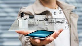 Lägenhet för tolkning för vit 3D för affärsman hållande Royaltyfri Foto