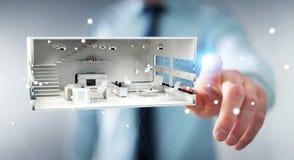 Lägenhet för tolkning för vit 3D för affärsman rörande Fotografering för Bildbyråer