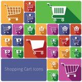 Lägenhet för uppsättning för symboler för shoppingvagn Royaltyfria Foton