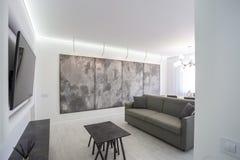 lägenhet för vind för luxurekorridor inre i grå stildesign med soffan royaltyfria foton