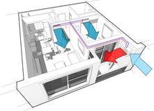 Lägenhet med det betingande diagrammet för inomhus väggluft Royaltyfri Fotografi