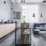 Lägenhet med vardagsrum royaltyfria foton