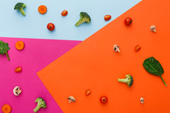 Lägenhet som är lekmanna- av rå grönsaker på abstrakt bakgrund Royaltyfri Foto